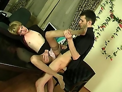 Deviating sissy guy acquiring close to to frantic ass-fucking phone in make an issue of office