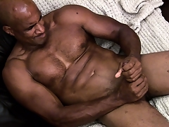 Hung ebony muscleman working fixed almost rub a albatross of jism out of his shaft