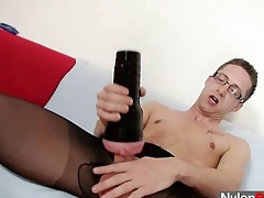 Solo gay Rick cums unaffected by his nylon tights