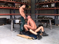 Chris Hacker, Mickey A together with Zsolt XL make a fine gay threesome with the garage
