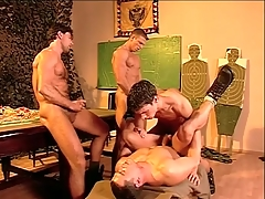 Hairy boobs military guys fuck and cum in get together about porn