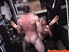 Pawnshop gaybait gets cumshot for quick cash
