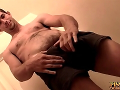 Hot young guy gets abiding and pisses