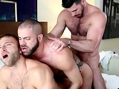 Gay suffer anal troika ends give hot cumshots