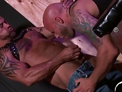 Leather bears lick ass and suck detect in threesome