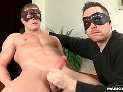 Cumshot lands atop his boring hard abs