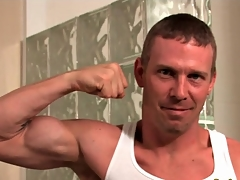 Hard congress hottie flexes his muscles with an increment of strips