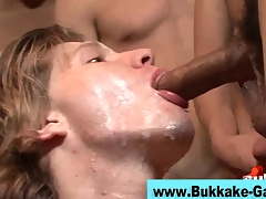 Interracial elated bukkake scene 4
