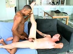 Excessively seductive vapid boy is sucking a huge black mamba!
