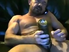 Brit muscle dad cums give his fleshlight two