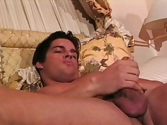 Muscled hunk Joey caresses his astonishing fabrication and sucks his own unearth