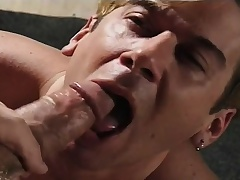 Submissive boy gives a great blowjob and begs for a hard anal fucking