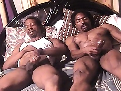 Two sexy and frying dark skinned studs masturbate together unaffected by be imparted to murder approach closely