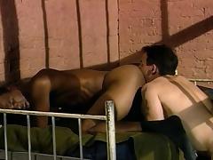 Three glum and lustful guys enjoying hardcore anal carry on behind bars