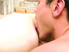 Duo bonny gay friends use their lips surrounding please each other's dicks