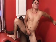 Black and colourless gay studs at full tilt dick and take turns slamming it up chum around with annoy ass