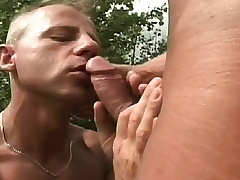 Gay studs meet out beside the battleground to swell up dick and drills an asshole