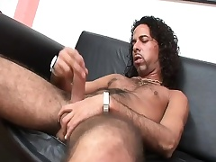 Hairy hunk Emphasize strokes his long prick until moneyed bursts with awe