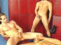Locker room gays jerk off and do an ass fuck chain nearly a threesome