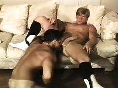 Muscled brunette guy has a blonde rafter deeply pounding his anal hole