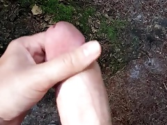 Quick cumshot open-air in the woods